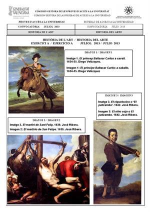 Examen de Selectividad: Historia del arte (anexos). Comunidad Valenciana. Convocatoria Julio 2013