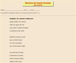 Romance del infante Arnaldos, ficha de lectura comprensiva