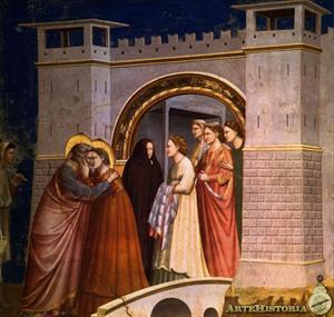 Abrazo en la puerta dorada (Giotto di Bondone)