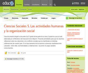 Las actividades humanas y la organización social
