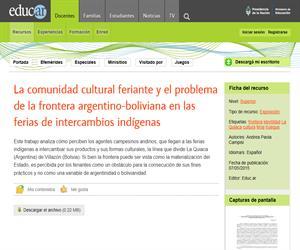 La comunidad cultural feriante y el problema de la frontera argentino-boliviana en las ferias de intercambios indígenas