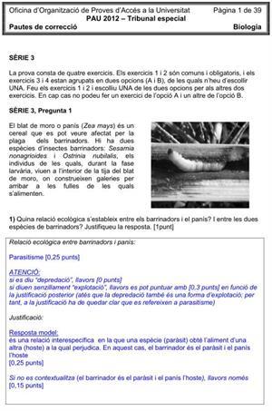 Examen de Selectividad (Soluciones): Biología. Cataluña. Convocatoria Junio 2012