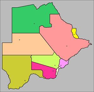 Mapa interactivo de Botsuana: distritos y capitales (luventicus.org)