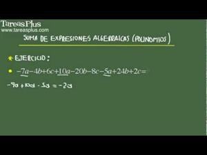 Suma de expresiones algebraicas problema 4 de 15 (Tareas Plus)