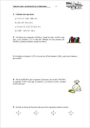 Repaso de verano. Matemáticas (6º Educación Primaria). Colegio Romareda