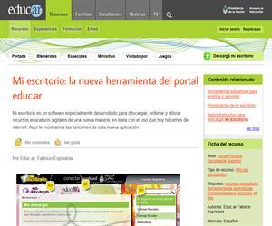 Mi escritorio: la nueva herramienta del portal educ.ar