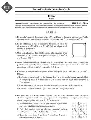 Examen de Selectividad: Física. Islas Baleares. Convocatoria Junio 2013