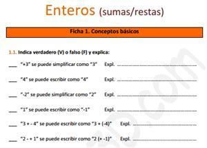 Suma y resta de números enteros - Ficha de ejercicios