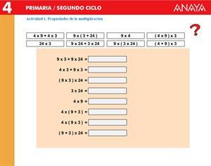 Propiedades de la multiplicación (Anaya)