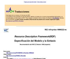 Resource Description Framework (RDF). Especificación del modelo y la sintáxis (español)