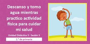 Descanso y tomo agua mientras practico actividad física para cuidar mi salud (PerúEduca)