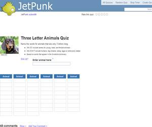 Three Letter Animals Quiz