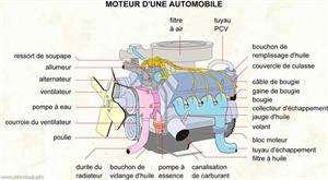 Moteur d'une automobile (Dictionnaire Visuel)