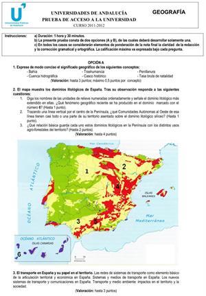 Examen de Selectividad: Geografía 1. Andalucía. Convocatoria Junio 2012