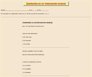 Zambomba es instrumento, ficha de lectura comprensiva