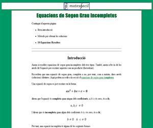 Equacions de Segon Grau Incompletes