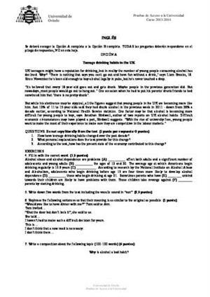 Examen de Selectividad: Inglés. Asturias. Convocatoria Junio 2014