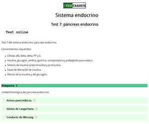 Test 7 sistema endocrino: páncreas
