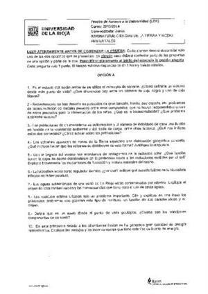 Examen de Selectividad: Ciencias de la Tierra. La Rioja. Convocatoria Junio 2014