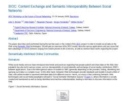 SIOC: Content Exchange and Semantic Interoperability Between Social Networks