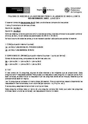 Examen de Selectividad: Historia del arte. Murcia. Convocatoria Junio 2014