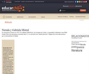 Neruda y Gabriela Mistral (Educarchile)