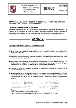 Examen de Selectividad: Tecnología industrial. Castilla y León. Convocatoria Junio 2013
