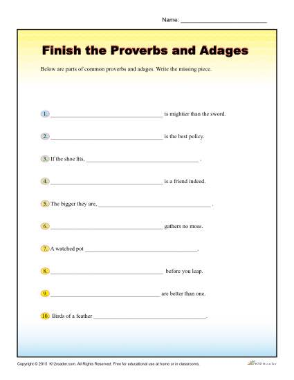 Finish the Proverbs and Adages