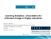 Learning Analytics: a foundation for informed change in Higher education (presentation by George Siemens, Athabasca University)