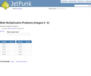 Math Multiplication Problems (Integers 0 - 6)