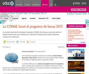 La CONAE lanzó el programa de becas 2012
