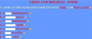 Likes and Dislikes. Food (englishexercises.org)