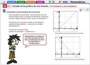 Crecimiento y decrecimiento de una función. Matemáticas para 3º de Secundaria