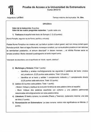 Examen de Selectividad: Latín. Extremadura. Convocatoria Junio 2013