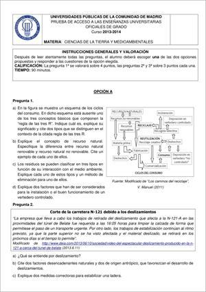Examen de Selectividad: Ciencias de la Tierra. Madrid. Convocatoria Junio 2014