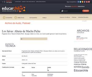 Los Jaivas: Alturas de Machu Pichu (Educarchile)
