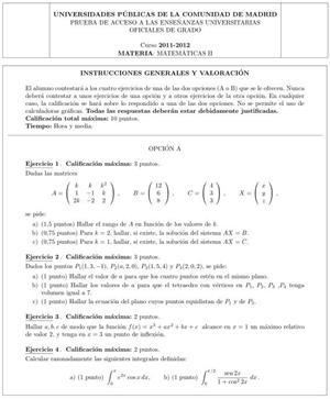 Examen de Selectividad: Matemáticas II. Comunidad de Madrid. Convocatoria Junio 2012