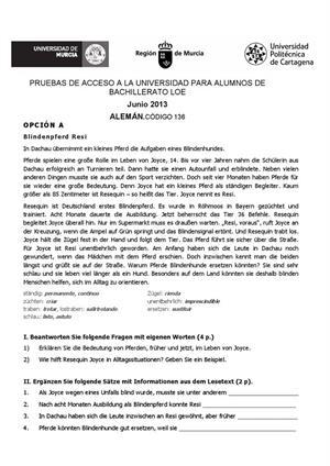 Examen de Selectividad: Alemán. Murcia. Convocatoria Junio 2013