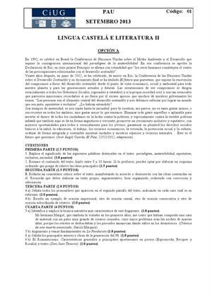 Examen de Selectividad: Lengua castellana y su Literatura. Galicia. Convocatoria Septiembre 2013