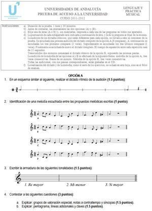 Examen de Selectividad: Lenguaje y Práctica Musical A. Andalucía. Convocatoria Junio 2012