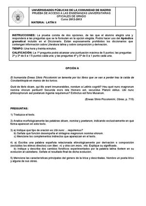 Examen de Selectividad: Latín. Madrid. Convocatoria Septiembre 2013
