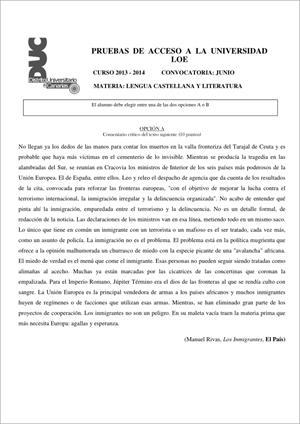 Examen de Selectividad: Lengua castellana y su Literatura. Comunidad Canaria. Convocatoria Junio 2014