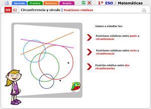 Posiciones relativas. Matemáticas para 1º de Secundaria
