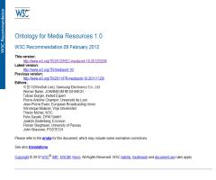 Ontology for Media Resources 1.0