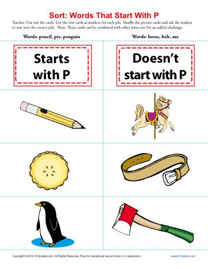 Consonant Sort: Words That Start With P