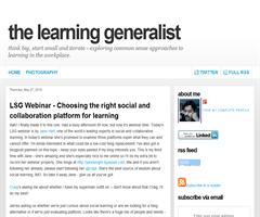 The Learning Generalist: LSG Webinar - Choosing the right social and collaboration platform for learning