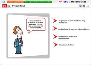 Probabilidad. Autoevaluación. Matemáticas para 4º de Secundaria