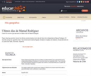 Ultimos días de Manuel Rodríguez (Educarchile)
