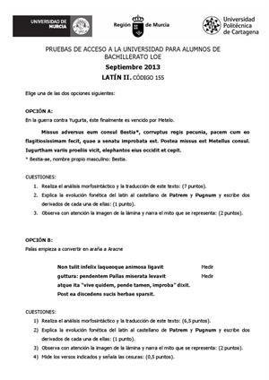 Examen de Selectividad: Latín. Murcia. Convocatoria Septiembre 2013
