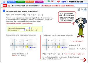 Factorizar usando la regla de Ruffini. Matemáticas para 4º de Secundaria